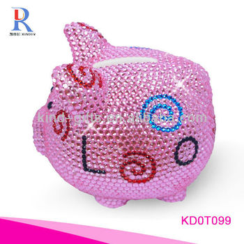 Most Beautiful And Fashion Piggy Bank| Ceramic Piggy Bank With Rhinestone|Crystal Bling Decoration
