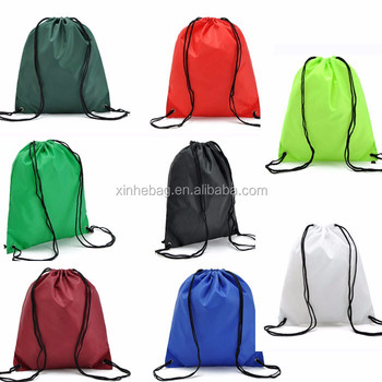 Custom logo colorful 190T polyester shopping drawstring bag/foldable nylon laundry drawstring bag