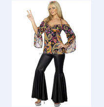 60s Hippy Shirt Flared Costume 70s Hippie clothes Women Ladies Fancy Dress QAWC-3386