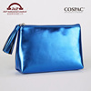 Glitter blue color fashion lady travel portable pu leather cosmetic bag