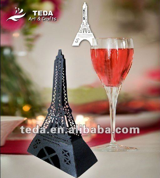 Eiffel Tower Design Wedding Favor Candy Box & Place Card