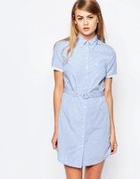 2016 Summer Short Sleeve Curved Hemline Polka Dot Belted Shirt Dress