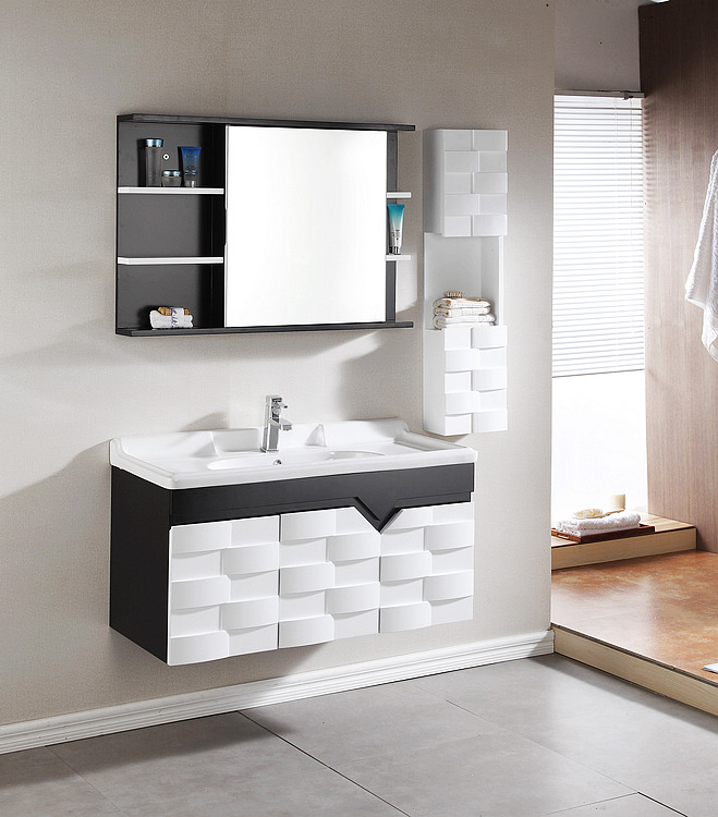 Australia Simple white and black Wall hung vanity units for bathroom cabinet