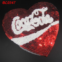 wholesale handmade embroidered heart shape letter sequin patch for apparel