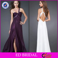 2014 Attractive Chiffon Purple Beaded One-Shoulder Strapless High Slit Belt Back Long Tail Cocktail Dress