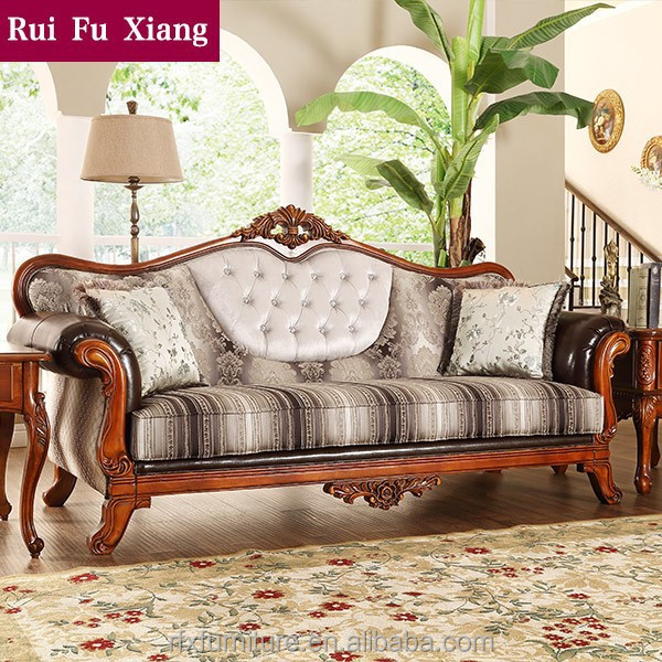 Landelijke stijl houten stof en leer sofa set voor thuis meubilair n 258 woonkamer sofa product - Sofa landelijke stijl stijlvol ...