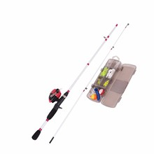 "Hot Sale 5'6"" Two Section Fiberglass Spincast Rod Fishing Reel Tackle Kit Combo"