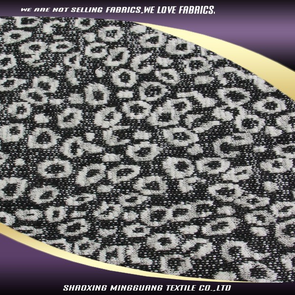 2015 latest design cotton polyester 60/40 white and black leopard print knit jacquard fabric cotton single jersey price