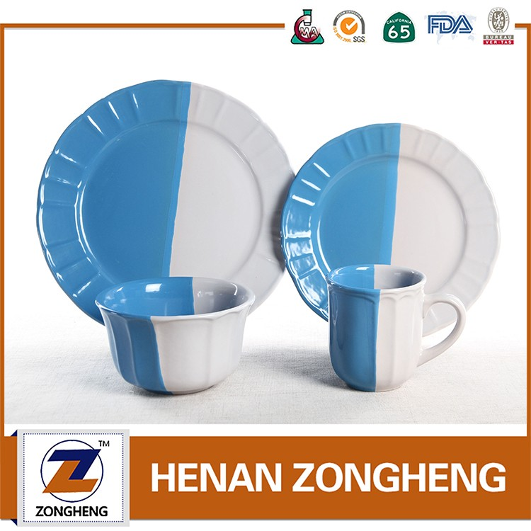 Wholesale stock 16pcs color galze embossed ceramic dinnerware