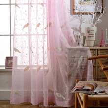 Bird pattern 3D embroidery good quality sheer curtains fabric