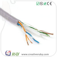 Bulk Price AMP Grey OFC 1000ft Round OD 23AWG T568B UTP Passed Fuke Test Cat 6 Cable for Structured Cabling