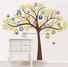 2018 new hotsale China handmade fabric crafts wholesale kids room gifts Christmas decor diy owl felt family tree wall sticker