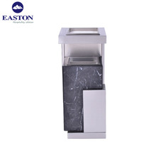 Hotel waste bin with ashtray,marble and stainless steel ashtray bin,ashtray stand trash bin
