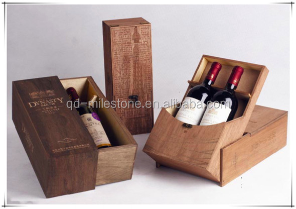 Nice Design Exquisite Custom Wooden Wine Shipping Boxes for Packaging Gifts