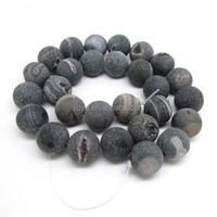 AB0263 Hot sale black matte drusy druzy agate geode beads ,raw beads