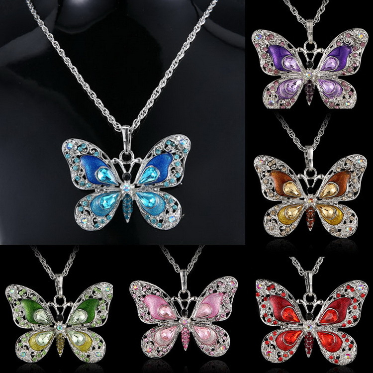 2018 retro butterfly necklace fashional and original designer different color animal man and woman beautiful necklaces <strong>W007</strong>