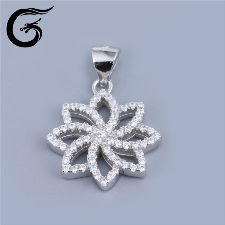 GuoLong sterling silver lotus flower holder charm pendant cz jewelry
