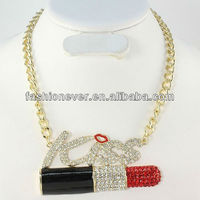 HUGE Red LIPSTICK Lips KISS Letters Rhinestone Pendant Gold Chain Necklace