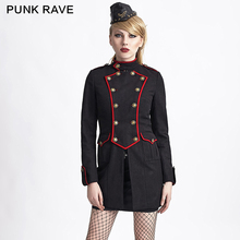 Y-624 Christmas Military style BLACK gothic women tailored suit dust three-quarter coat