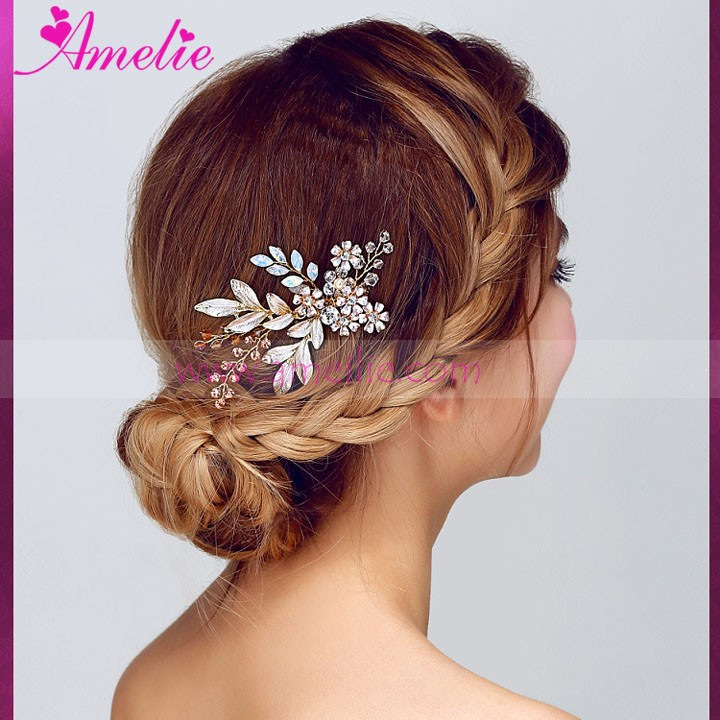 AS811 Enamel Leaf and Flower Vintage Bridal Magic Hair Comb for Prom