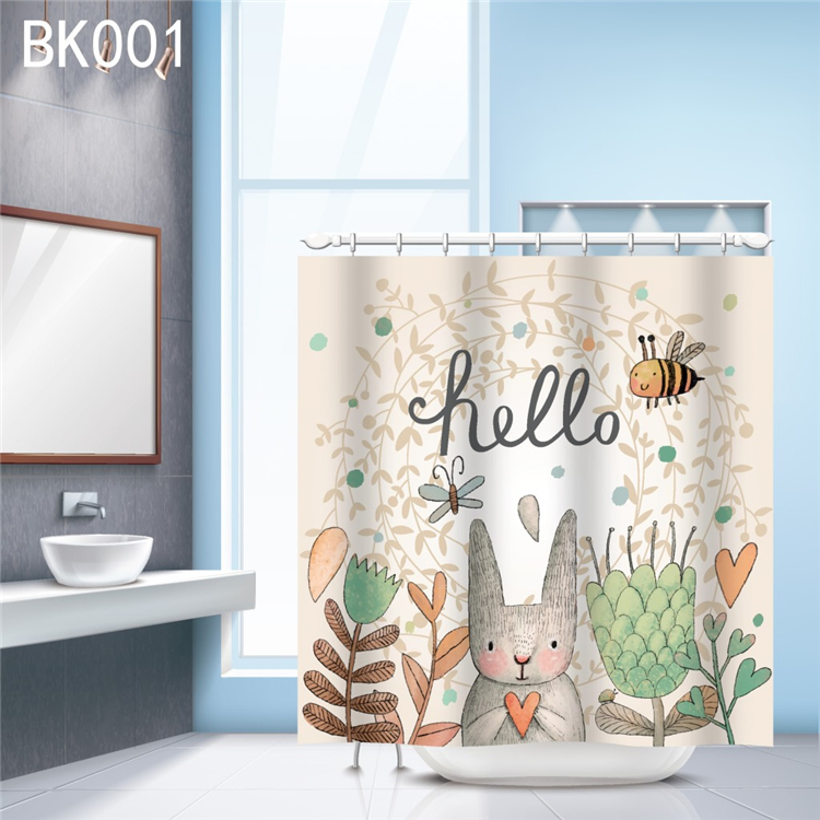 Customized Eco-friendly Waterproof Cute Bunny Rabbit Flower Baby Kids Decor Bathroom Shower Curtain with Hooks 048