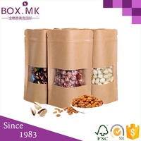 Zip Lock Stand Up Doypack Pouch Kraft Paper Bag With Window And Zipper