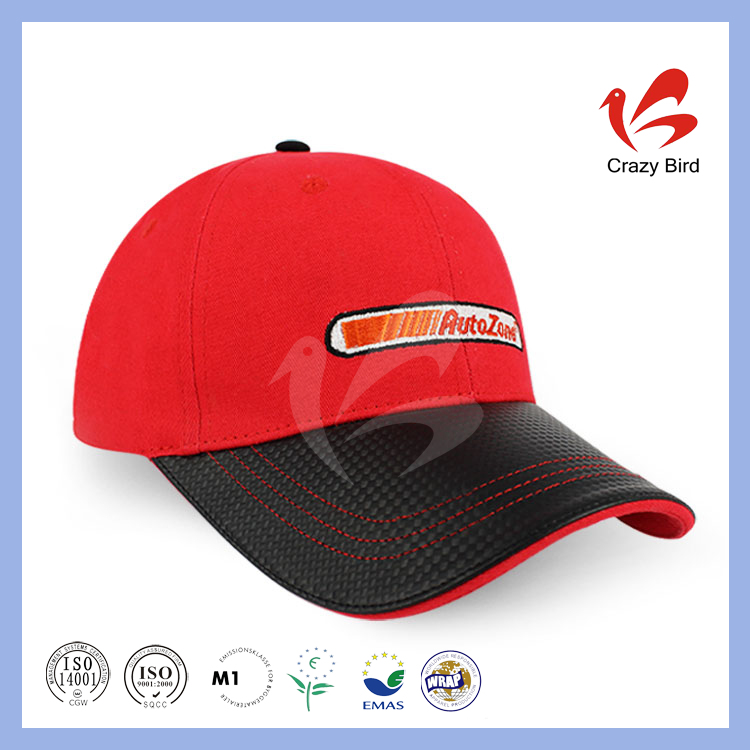 Top Quality Sandwich Brim Embroidery Air Holes Red Crazy Bird Outdoors Hat Winter Leather Baseball Caps