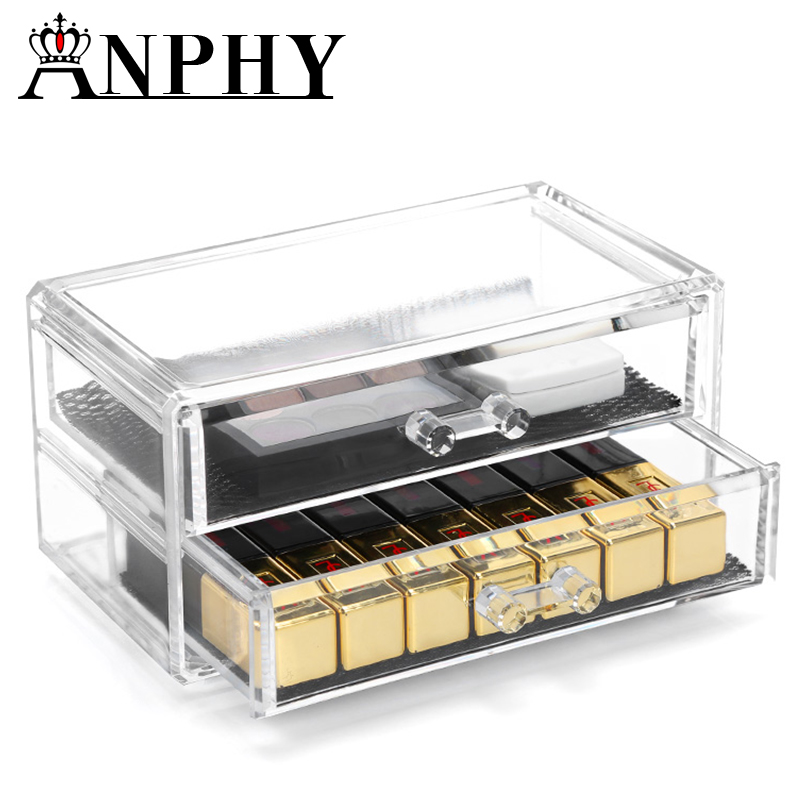 ANPHY C48 High Quality 2 drawers with handle acrylic makeup cosmetic organizer with handle acrylic makeup organizer with handle