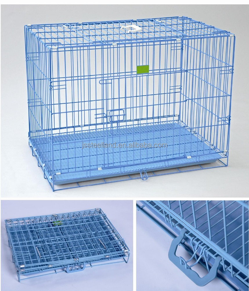blue powder coated dog cage plastic tray with floor dog crate