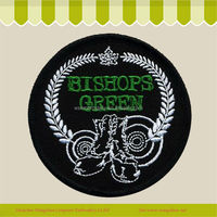 Bishops Green Embroidery Silver Bullion Logo Badges/Emblems with on Backing Wholesale