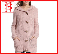 ladies knitting pattern coat long cardigan 100% cotton hoodie sweaters