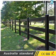 Made in China Black Durable Four Rail Cheap Vinyl Clad Fencing