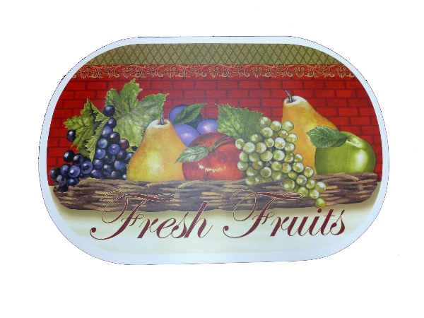 Durable in use Fruit Printed Vinyl Oval Placemat