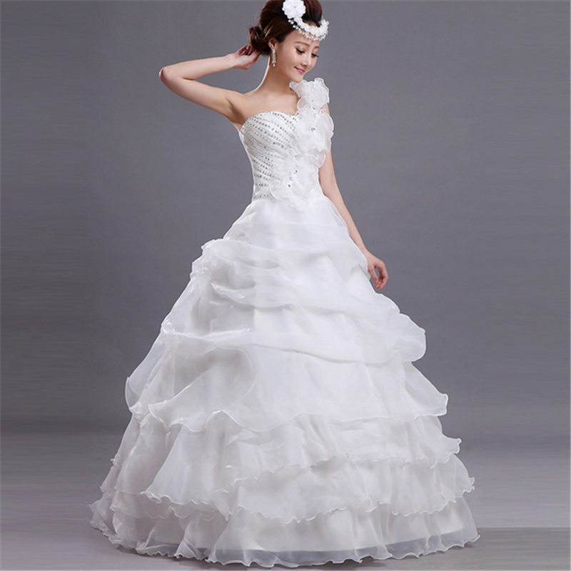 WD05 PROMOTION top selling new arrival one shoulder pure white wedding dress flower korean design