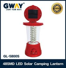 High power rechargeable 48 led solar camping lantern with fm radio and mobile charger