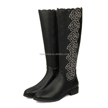 Women round toe black hollow carved rose pattern breath hole zipper low chunky heel rubber outsole knee high boots
