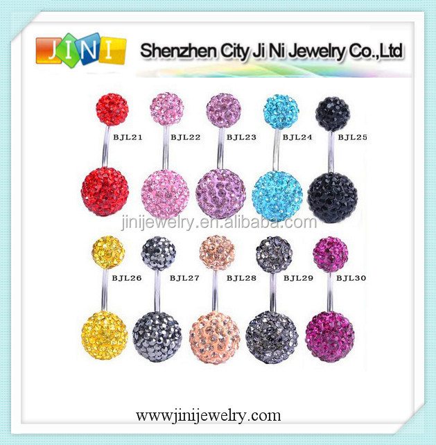 shamballa ball piercing navel belly
