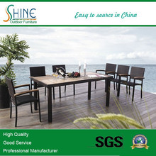 Outdoor Furniture Hot Sales Modern Luxury PE Rattan Rectangle Table Teak Wood Armrest Chair Out Dining Set SZ-294