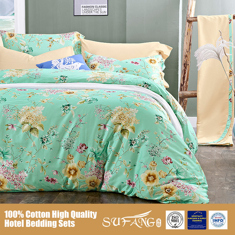 100 Cotton Green Color Blossom Bed Sheet/Bedding Set/Home Textile Bed Linen on Sale