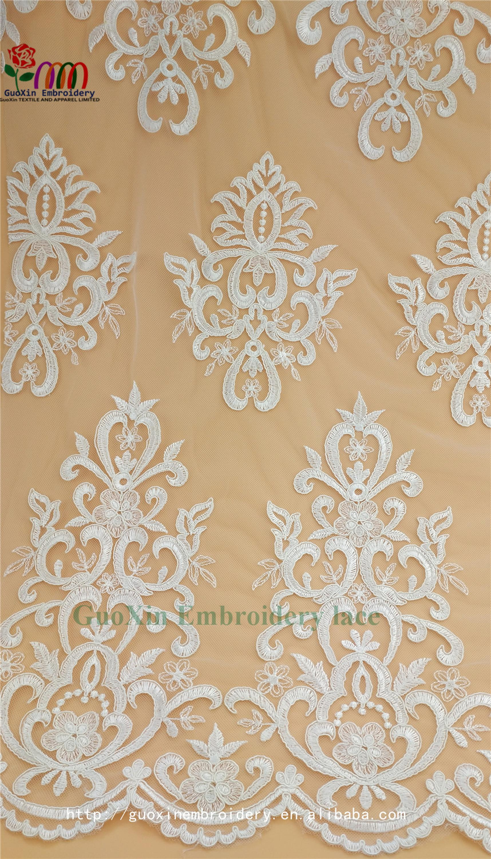 wonderful wedding veil lace white embroideried lace fabric with cording