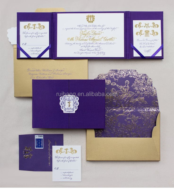 gold hot stamp foil & embossed purple silk wedding invitation folios with coners