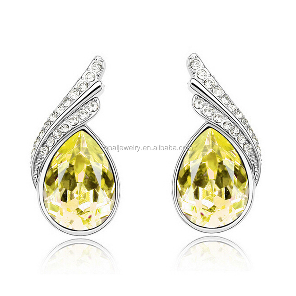 Wholesale Teardrop Shaped Light Golden CZ Setting Rhodium Plated Earrings Stud