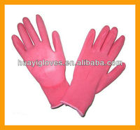 Pink Nylon PU Coated Gardening Glove HYZ46