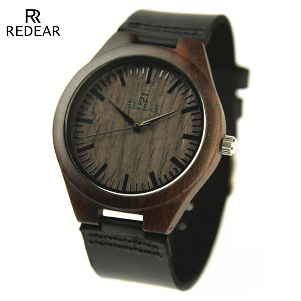 <strong>100</strong>% nature wooden classic brand genuine leather wrist watch