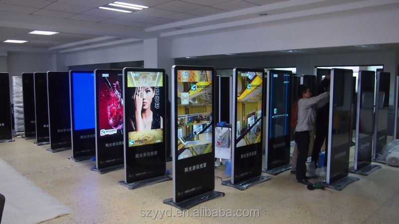 High quality big size slim floor six vedio media ad player digital signage player digital signage display stands