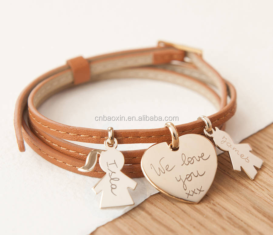 Custom Alloy Heart Pendant Brown Leather Wrap Bracelet for Family