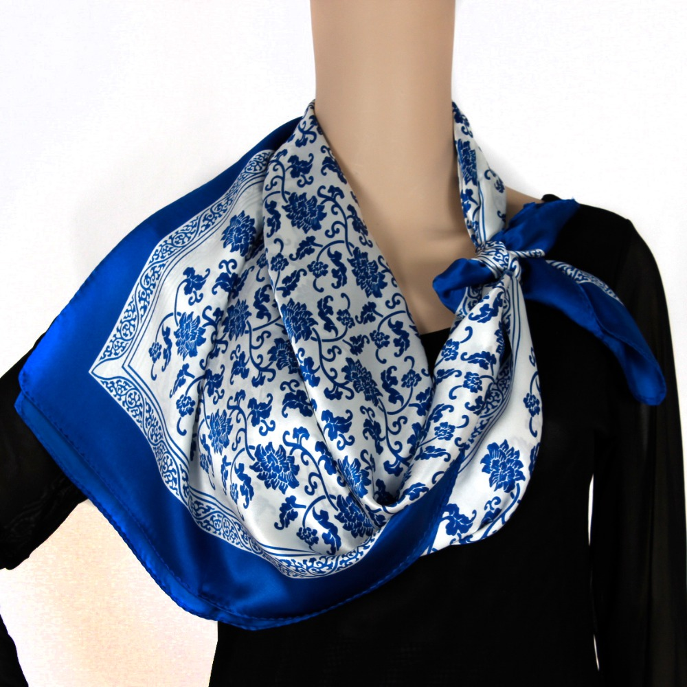 white silk scarf white scarf with blue floral scarf buy