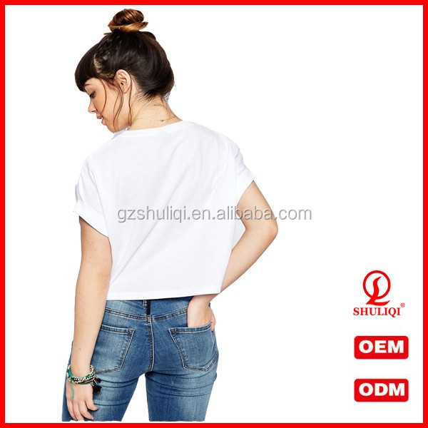 Summer Womens Cotton T Shirts Custom Crop Top Printing Short Sleeves Wholesale China