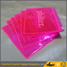 clear vinyl pvc zip lock bags,pink color pvc waterproof zip lock bag,custom design pink color clear pvc plastic zip lock bag