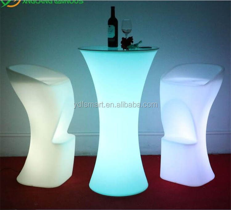 Event decoration LED Furniture/LED Cocktail Table with glass